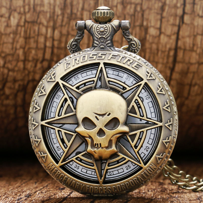 Hollow Vintage Bronze Skull Ghost Cross Fire Quartz Pocket Watch Necklace Mens P314C