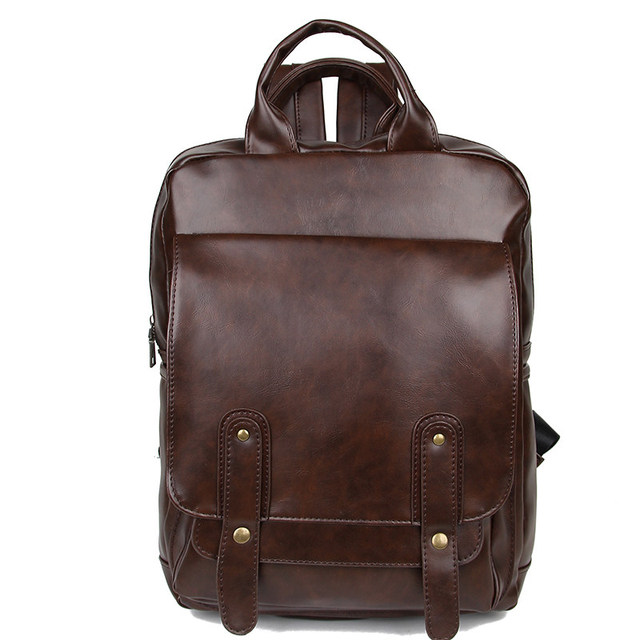 Fashion School Bag For Men Laptop Backpack Leather Book Bag For Teenagers  Casual Daypack Backpack PU da3c4c2642