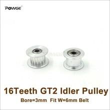 POWGE 16 зубьев 2GT отверстие натяжного шкива 3 мм 16 зубьев пассивный шкив 16 т 20 Geer GT2 холостого хода шкив для ширины 6 мм GT2 Ремень