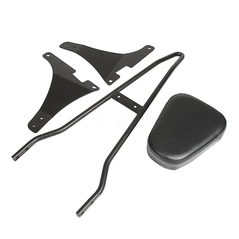XYIVYG BLACK/CHROME REAR Detachable SISSY BAR BACKREST Cushion Pad PASSENGER FOR HARLEY SPORTSTER 883 1200 for ktm 390 duke motorcycle leather pillon passenger rear seat black color