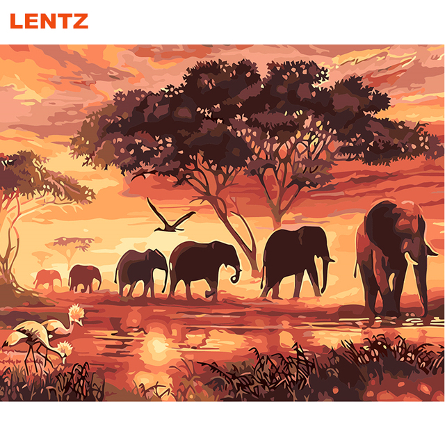 Gajah Hewan Diy Mewarnai Lukisan By Numbers Acrylic Gambar Wall Art