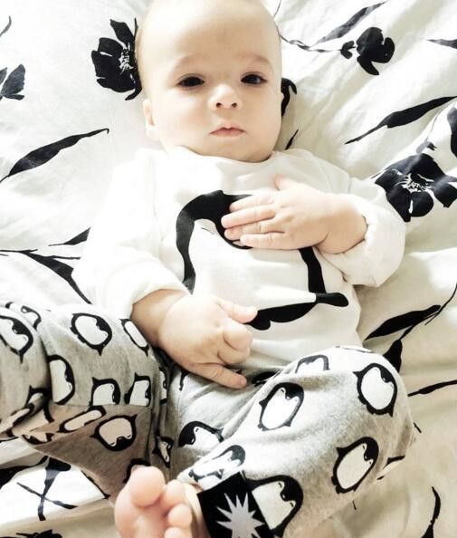 2019 Fashion Baby Boys Girls Clothing Sets Long Sleeve Cute Penguin T-shirt+Pants+Headband  Newborn Infant Baby 3PCS Outfits 2