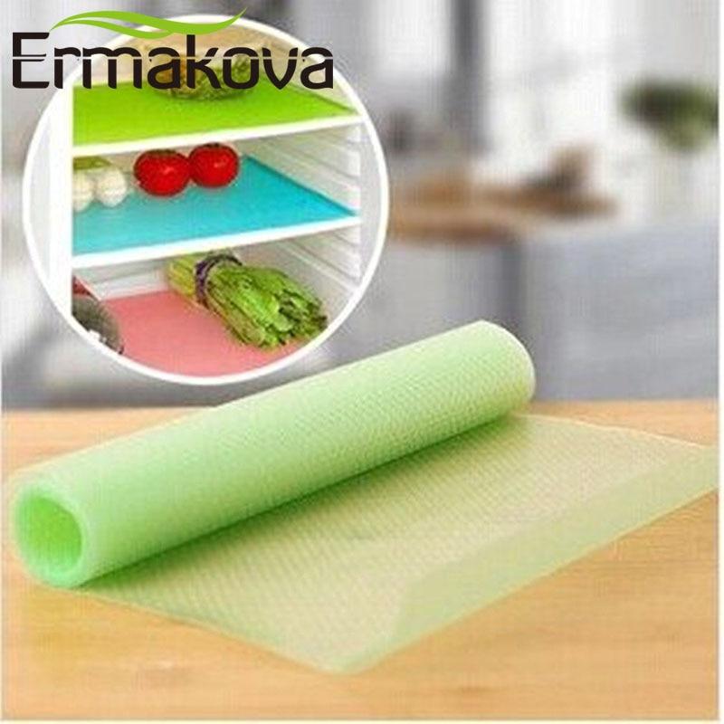 ERMAKOVA อเนกประสงค์ 4 ชิ้น / ล็อต EVA ตู้เย็นตู้แช่แข็งเสื่อป้องกันการเปรอะเปื้อนป้องกันน้ำค้างแข็งลื่นแผ่นกันน้ำตาราง / เสื่อลิ้นชัก