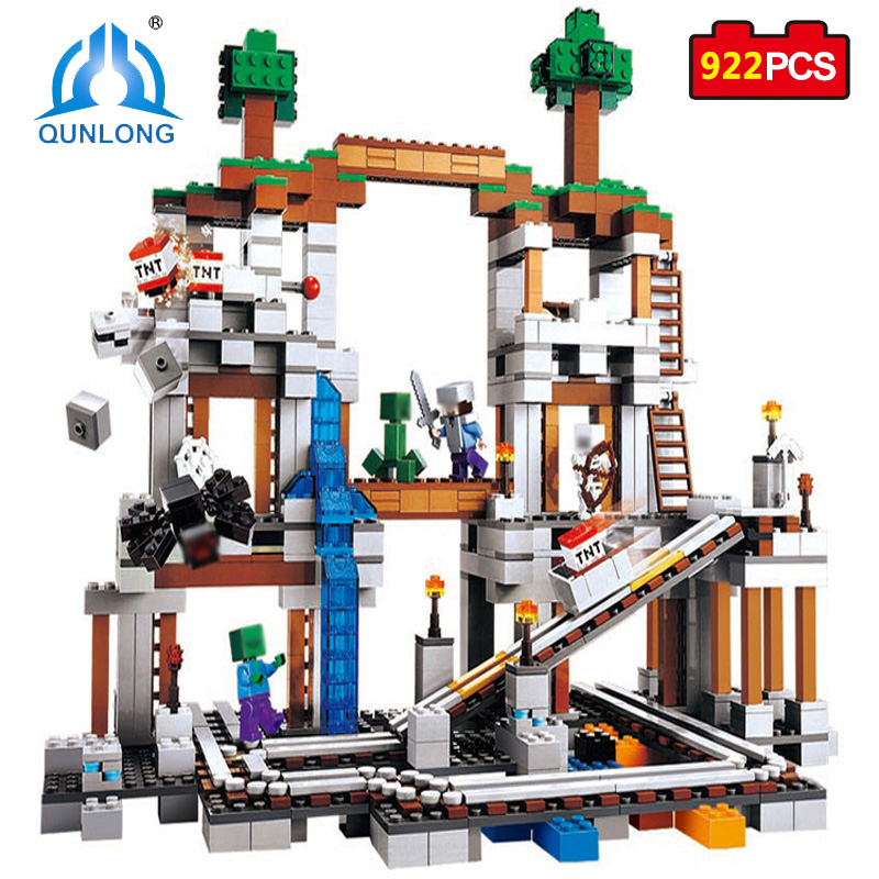 Qunlong Toy 922pcs MY WORLD The Mine Mountain Building Blocks Educational Bricks Toys For Kid Compatible Legoed Minecrafted City 259pcs new my world building blocks sets mine and workers scene blocks compatible legoinglys minecrafter toys for childrens
