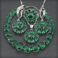 Classic 925 Sterling Silver Jewelry Sets For Women Green Garnet Earrings/Rings/Pendant/Necklace/Bracelets Free Gift Box
