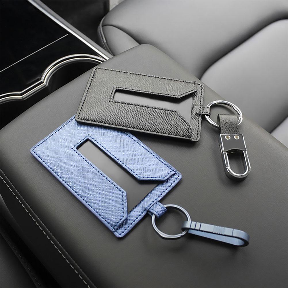 KE-KE Card Holder for Tesla Model 3/Leather Protector Cover Key Card Keychain Metal Accessories Blue