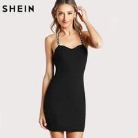 SHEIN Sexy Club Party Dress Pearl Embellished Mini Women Dresses Crisscross Elegant Vintage Bodycon Cami Black