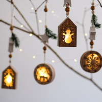 Vintage Style Wood Christmas Decoration Creative Hollow Snowman Reindeer Drop Ornaments with LED Lights Holiday/Party Decor