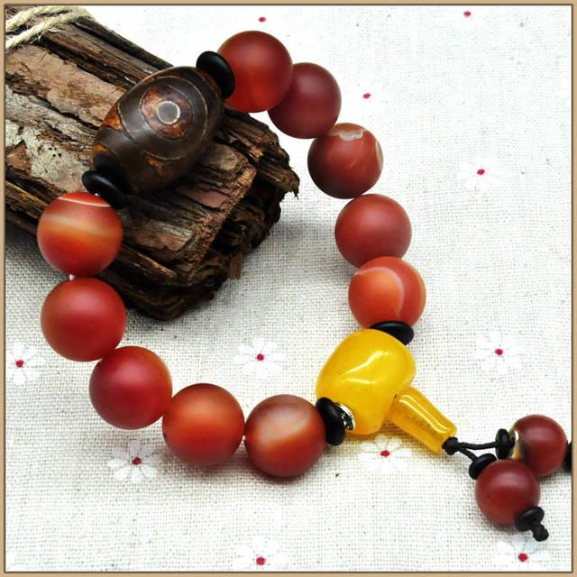 Yumten Red Ágata Beads Pulseiras buddha Para As Mulheres Homens Tibetano Dzi Pulseira de Cristal Citrino 925 Sterling Ball Strand Pulseiras Saco