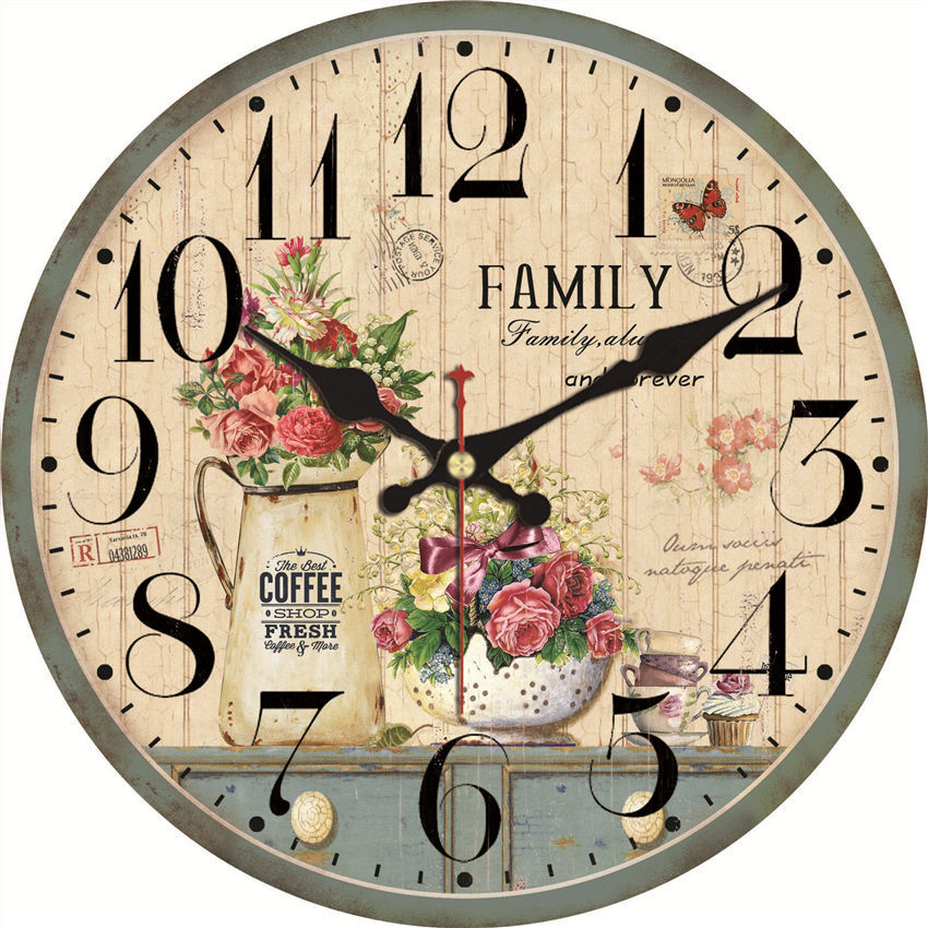 Plant-Clocks Living-Watches-Accessories Flower Home-Decor Kitchen Shabby Vintage Large