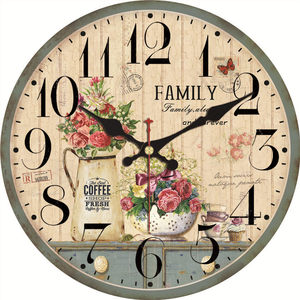 Shabby Chic Potted Plant Clocks Flower Home Decor For Kitchen Silent Living Watches Accessories Art Vintage Large Wall Clocks(China)