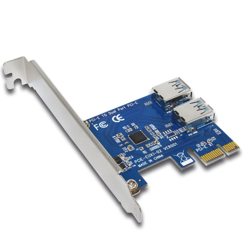 PCIE PCI Carte D'extension Carte À 2 Ports USB 3.0 HUB Contrôleur Adaptateur Riser Cartes Pour Bitcoin Minière Dispositif XXM8