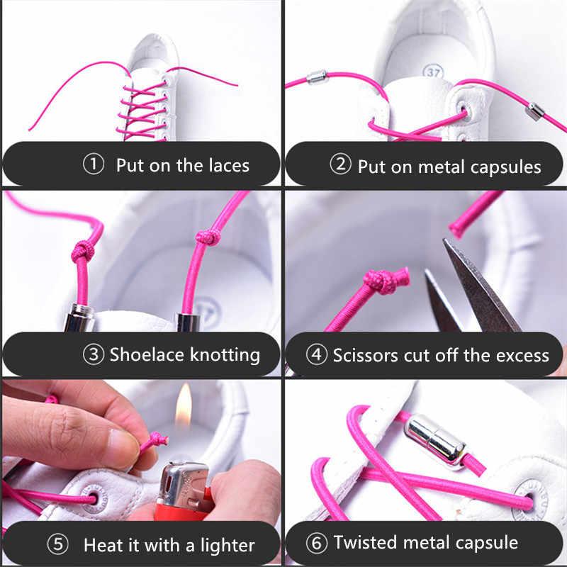 ใหม่ 1 คู่ Unisex Lazy ยืดหยุ่นไม่มี tie locking รองเท้า Laces เด็กผู้ใหญ่ Quick Candy สี 100 ซม.รอบหัวโลหะ Shoelaces