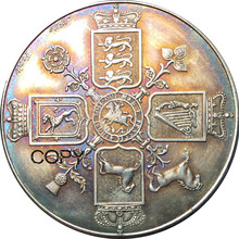 Великобритания 1820 1 Корона-Джордж III латунный посеребренный копия монет