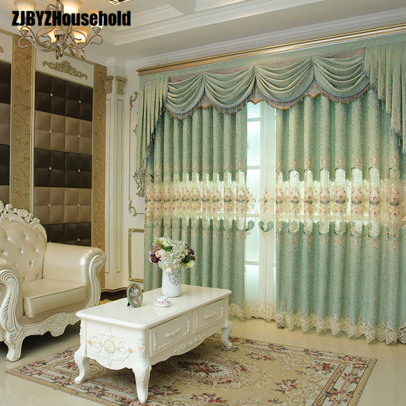 2018 new european style luxury villas bedroom finished - European style curtains for living room ...