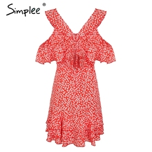 Simplee V neck floral print mini dress Ruffle frill strap short summer dress Sexy backless tie up beach vestido de festa