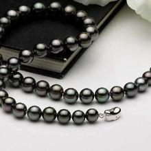 811acdf03b7f Impresionante 10-11mm tahitian redondo negro perla necklace18inch