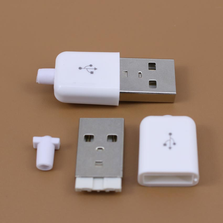 1pcs USB 2.0 Connector Type A Male USB 4 Pin Plug Socket Connector Soldering With white Plastic Cover for DIY Custom Handmade 5pcs a type male usb connector 4pin plug socket connector with black plastic cover