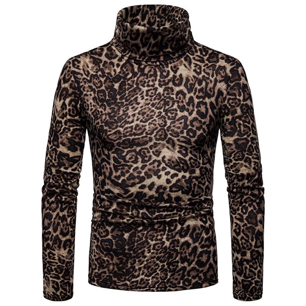 Winter Men Leopard Print High Neck Long Sleeve Jumper Slim Fit Pullover Top