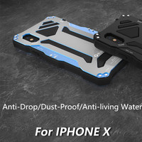 R JUST for Apple IPhone X 10 Aluminum Case Splashing water/anti dusty/anti shock Phone Cases metal Covers with Tempered glass