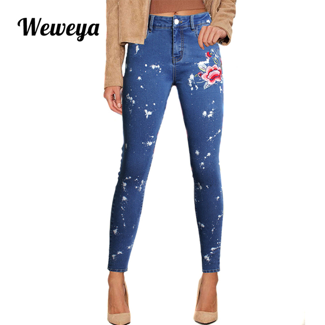 Weweya Mince Jeans Pour Femmes Broderie Fleur Femme Jeans Stretch