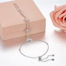 SLJELY lüks marka 925 ayar gümüş yıldız güzel bilezik mikro 5A zirkon CZ kadınlar ayarlanabilir el geri zincir takı