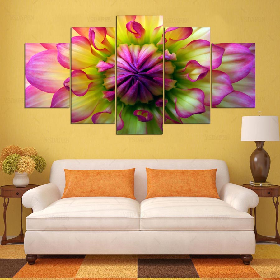 YSDAFEN 5 panel HD printed painting dahlia canvas home decor wall ...