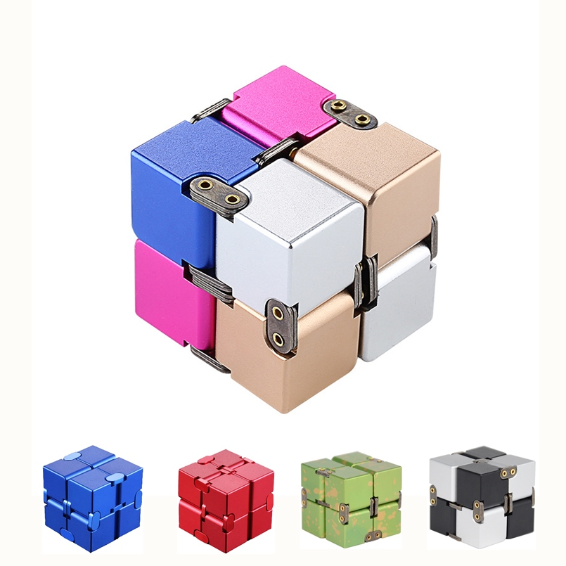 Aluminum Alloy Magical Infinity Cubeb Creative Fidget Toys Infinite Flip Decompression Cubes for Stress Relief