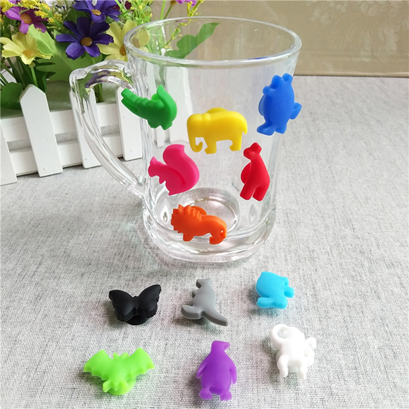 12PCS/ Set Party Dedicated Animal Suction Cup Wine Glass Silicone Label Silicone Wine Glasses Recognizer Marker Tea Accessories