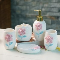 3D Luxury Ceramic Flower Bathroom Accessories Bathroom Set Lotion Bottle Toothbrush Holder Soap Box Trays Bathroom kit