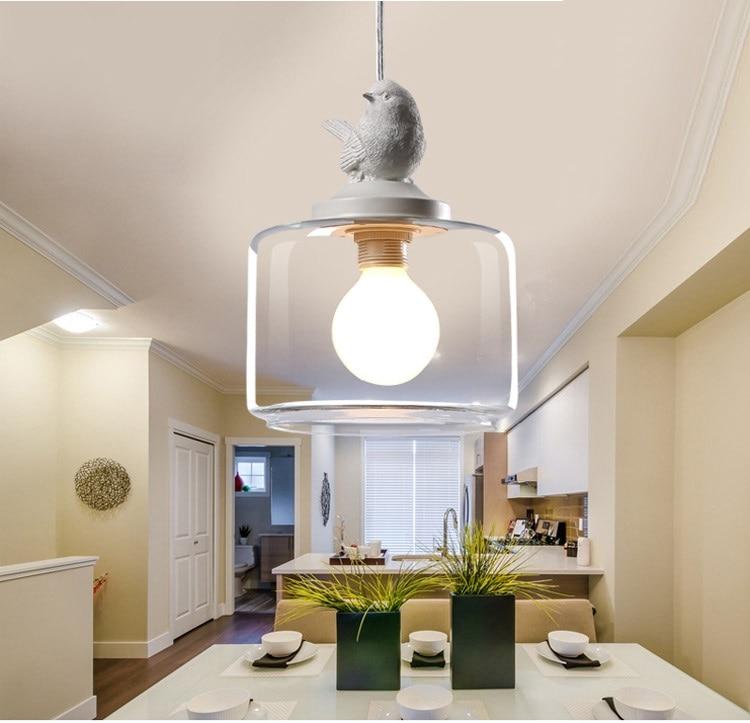 LuKLoy Resin Bird Pendant Lamp Light Nordic Glass Lights Lighting for Loft Kitchen Dining Room Ceiling Bedroom Decoration (7)