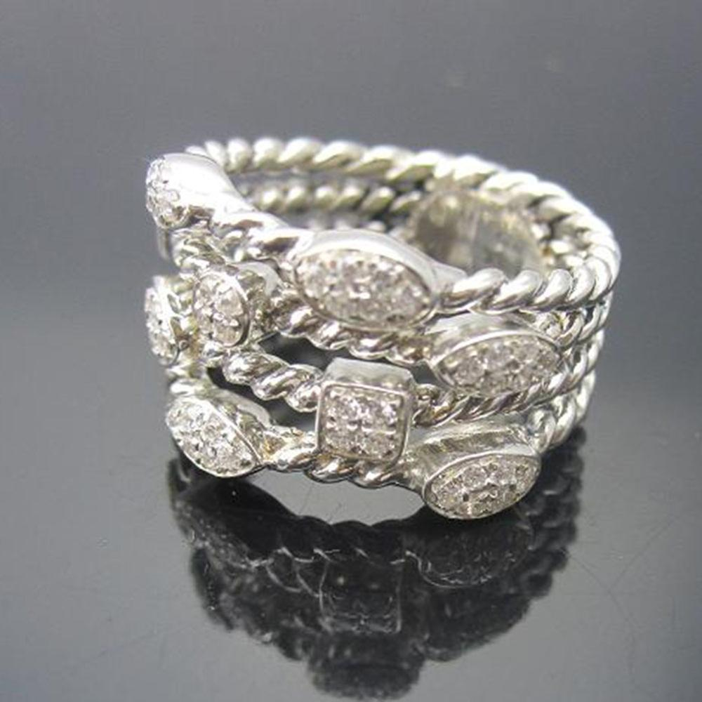 Solid Sterling Silver Jewelry Pave Diamonds Four Row Confetti Ice Ring Design Brand Jewelry Silver Wormen RingThanksgiving Gifts - 4