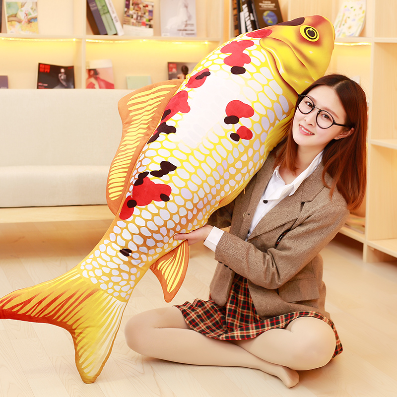 long plush colourful fish toy new creative gold-silver carp pillow gift about 140cm about me fish