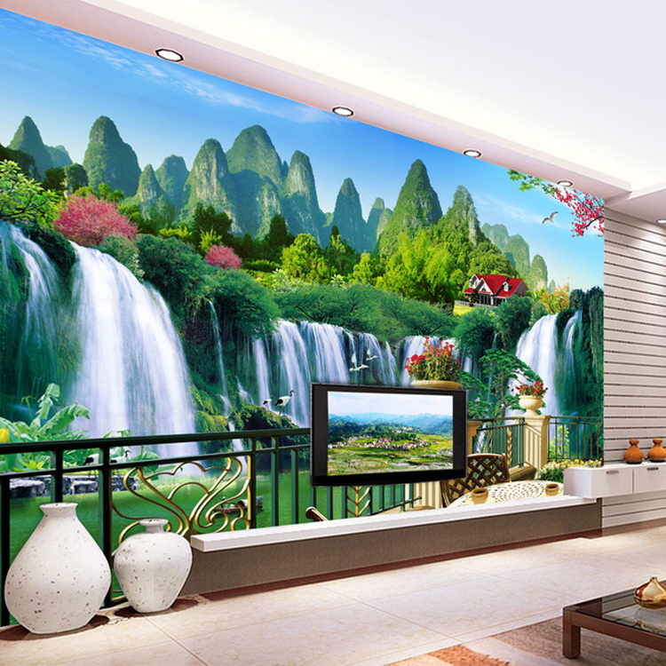 3d nature wallpapers large mural living room tv background for Nature room wallpaper