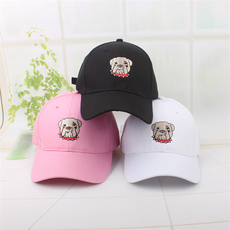 Dog Animal Embroidery Cotton Casquette Baseball Cap Hip-hop Cap Adjustable Snapback Hats For Kids Men Women 257 Men's Hats