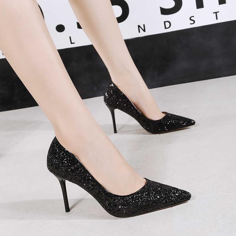 47564786d ... 2018 Fall Women Sexy Pumps Glitter Wedding Shoes Woman Gold White Silver  High Heels Bridal Evening ...