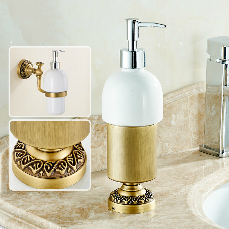 цена на Antique Bronze Liquid Soap Dispenser European Brushed Sitting Type Hand Washing Liquid Cup Washing Liquid Soap Holder Standing A