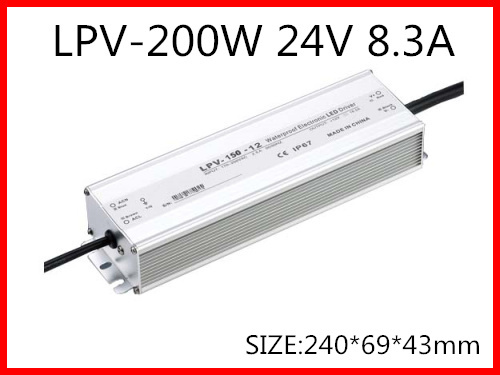 200W 24V 8.3A LED constant voltage waterproof switching power supply IP67 for led drive LPV-200-24 kv 24200 da 24v 200w dali dimmable constant voltage decoder