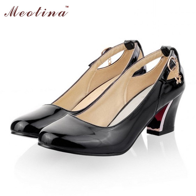 Meotina Heels Shoes Women Fashion High Heesl Pumps Chunky Heels Patent Leather Office Ladies Shoes Big Size 9 10  Blue Beige