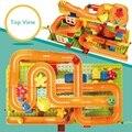 Envío gratis 134 unids/set diy construcción de mármol carrera carrera laberinto bolas pista plástico house building blocks juguetes para niños no caja