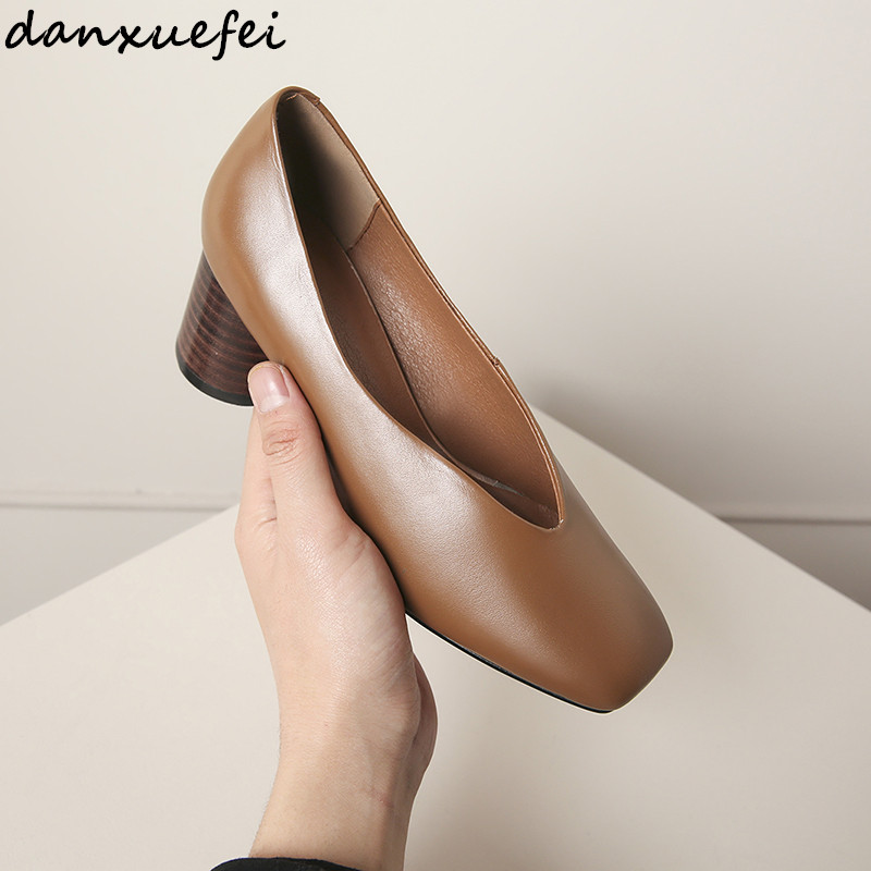 Women's thick high heel autumn OL style shoes genuine leather slip-on heeled shoes square toe female footwear pumps shoes women 2018 women top quatily genuine leather luxury pineapple heel design style single shoes pineapple print thick soled high heel