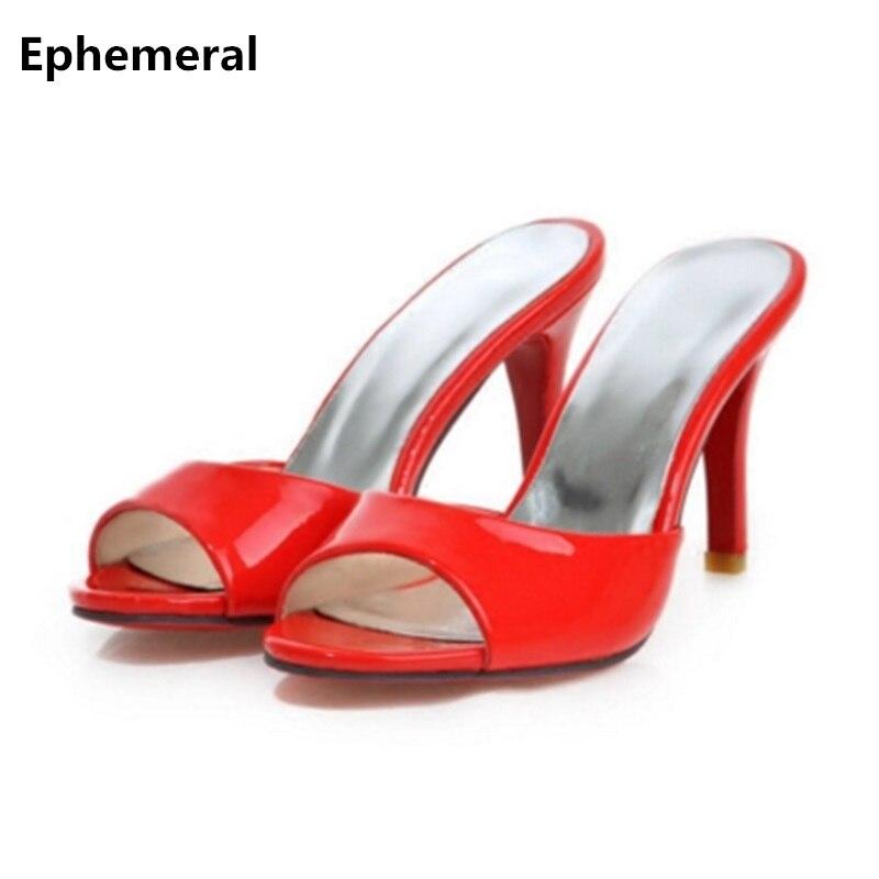 Дамы 8.5 см очень высокая обувь на каблуке тапочки каблуках из лакированной кожи с открытым носком летние шлепанцы удобные красные белый бол...