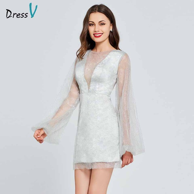 7b8ff605f40 Dressv silver cocktail dress scoop neck long sleeves elegant button short  mini wedding party formal dress