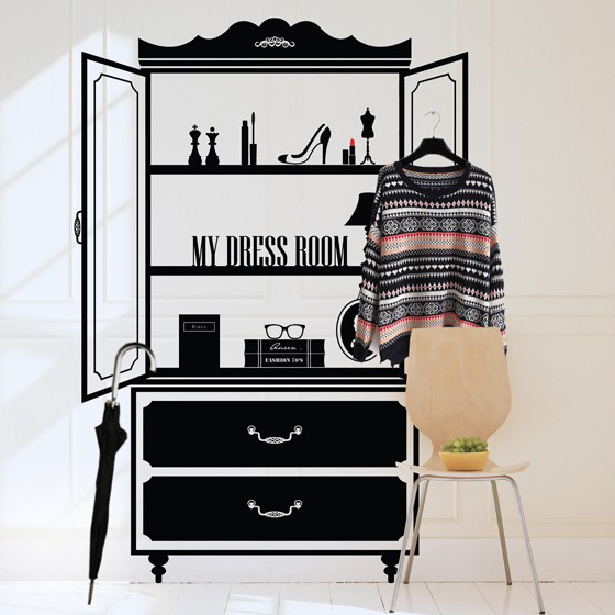 Huge Dressing Table Vinyl Wall Decal Clothes Shop Cosmetics Shop Make Up Room Mural Wall Sticker