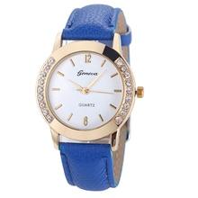 Newest Flower Printed Watches Fashion Women Diamond Crystal Analog Quartz Wristwatch Rhinestone Lady Dress Leather Reloj Relogio