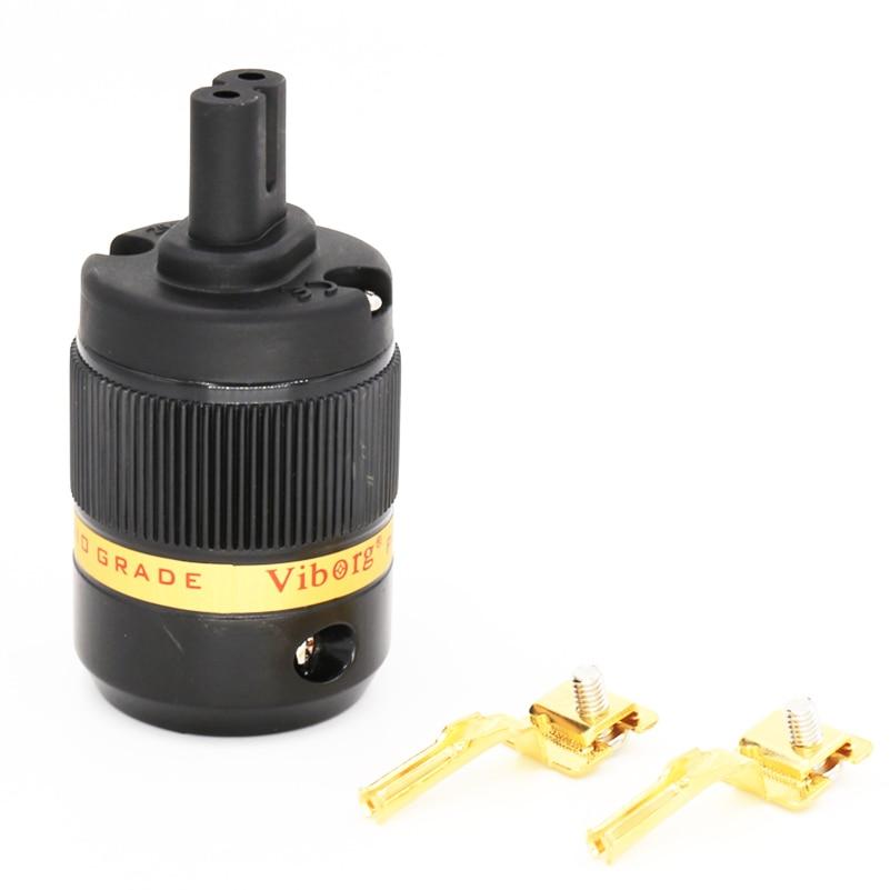 Viborg Pcs haute qualité VF508G C7 pur cuivre plaqué or Figure 8 connecteur IEC cordon d'alimentation connecteurs de câbles Audio