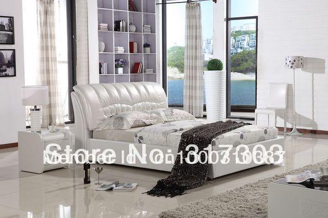 Dormitorio fruniture cama de cuero, cama suave, 1.8 kingsize cama, fábrica venta al por mayor precio ofrecido, mar shippment morden designH8073