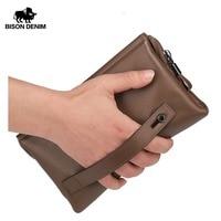 BISON DENIM Mens Wallets Luxury Brand Genuine Leather Guarantee Men Clutch Men Big Capacity Wrist Strap Wallet Bag Wrestle N2257
