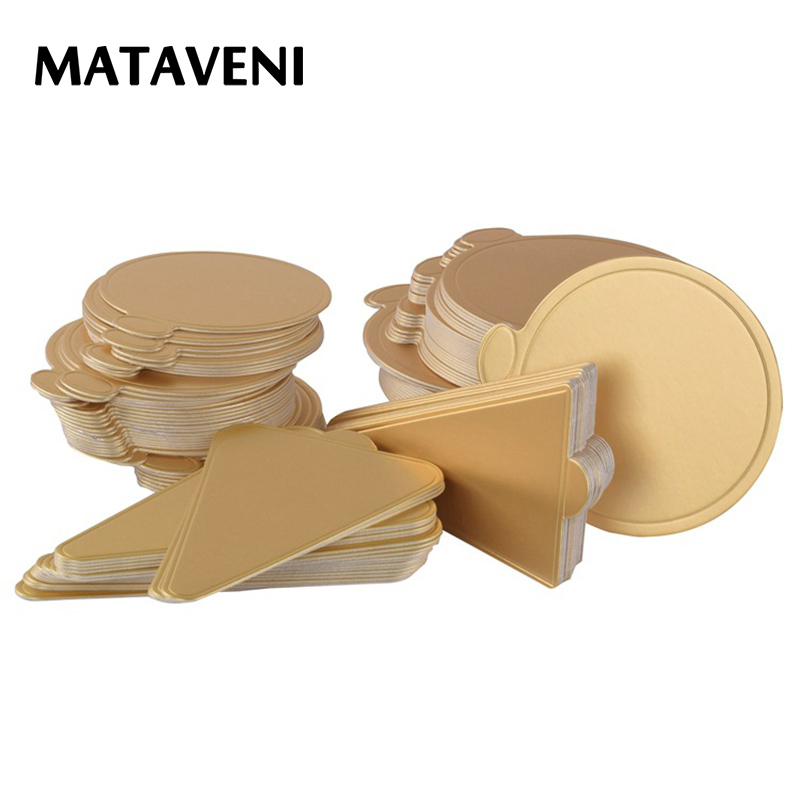 100pcs/Set Round Mousse Cake Boards Gold Paper Cupcake Dessert Displays Tray Wedding Birthday Cake Pastry Decorative Kit ...