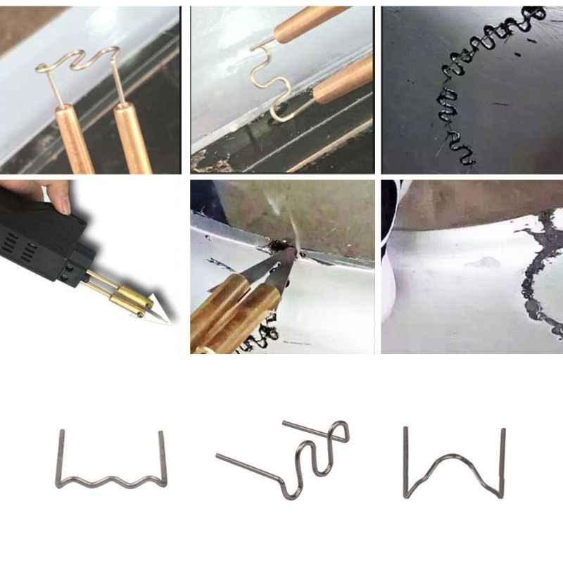 100 stks/set Voorgesneden 0.6mm Wave Platte Nietjes Voor Plastic Nietmachine Reparatie Lasser